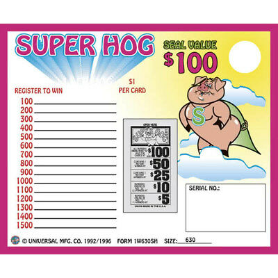 """Super Hog"" 1 Window Pull Tab 630 Tickets Payout $500"