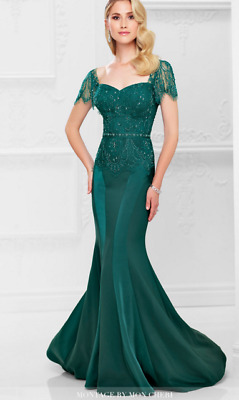 Montage by Mon Cheri Gown- 117908, Hunter Green, Size 14, NWOT