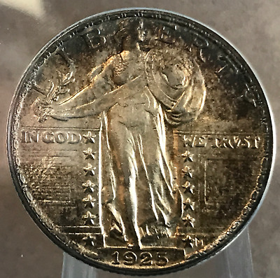 1925 P 25c Standing Liberty Quarter ANACS AU58 With Toning