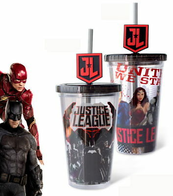 Justice League Theater Cup Wonder Woman Superman Batman Double Wall Sipper Stra