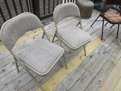 Folding Chairs Meco Set of 2 Metal Beige Fabric Mid Century Modern Vintage USA