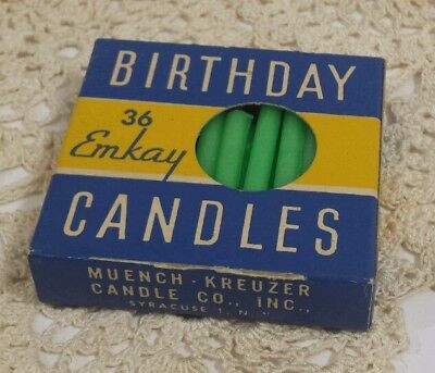 Vtg Emkay Birthday Candles Jadeite Mint Green 33 Count with Box Partially Used