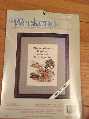 Irish blessing counted cross stitch kit with floss and Matt included sealed