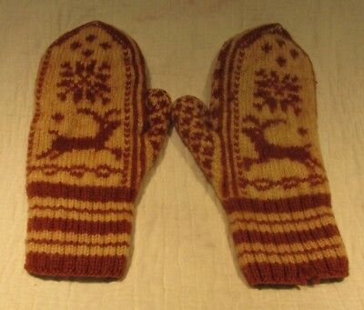 Vintage Christmas Mittens - Handmade Wool Knit With Reindeer And Snowflakes