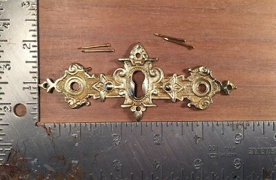 Vintage brass Egyptian Revival Eastlake keyhole key hole cover Escutcheon