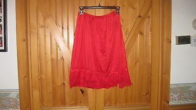 Vtg Applause Red  Half Slip S- M 7  in lace hem sexy Red petticoat