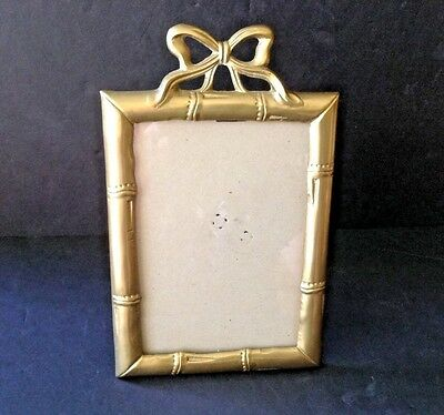 Vintage Solid Bronze/Brass Bow Picture 5x7 Frame with Easel