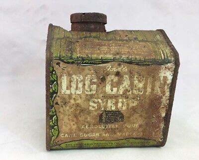 Old Vintage LOG CABIN Syrup Tin Metal Small Can Advertising With Original Lid!