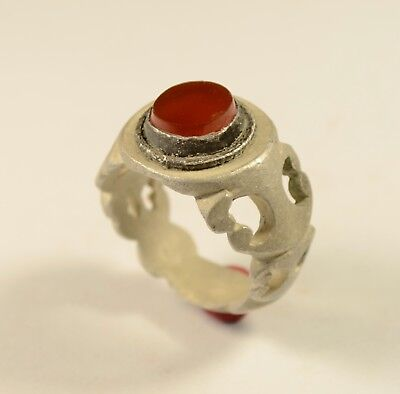 Fantastic& Massive Late Post Medieval Openwork Silver Ring With Red Garnet Stone