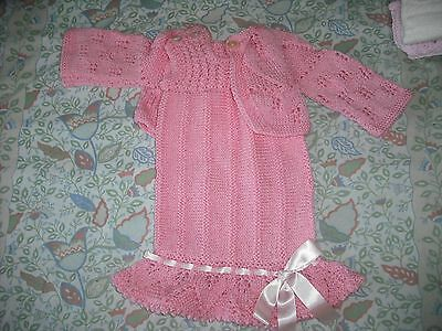 girls hand knitted dress and cardigan,1-2 years.