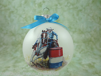 H033 Hand-made Christmas Ornament - horse - paint pinto barrel racer