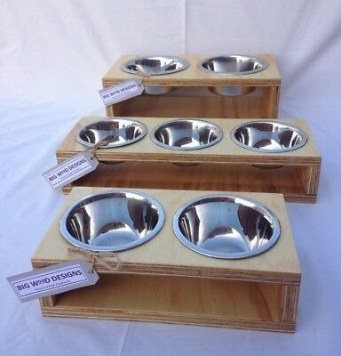 HANDMADE  - Contemporary Elevated / Raised Cat Feeder with Stainless Bowls.