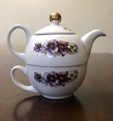 Vintage English Teapot & Cup Arthur Wood single serving Staffordshire England