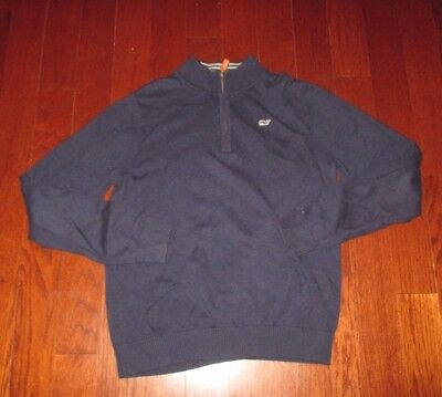 VINEYARD VINES youth SZ L(16) navy WHALE LOGO 1/4 zip front sweater