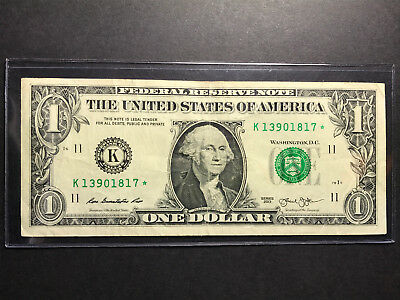 2013 $1 Star Bill. One Dollar Replacement Note - K- Texas