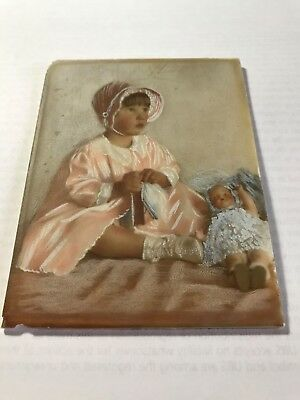 Antique/Vintage painting on milk glass - Baby Girl with Doll