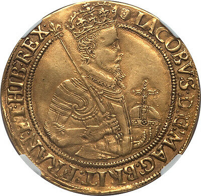Great Britain James I Gold Unite 1605-1606 NGC XF-45
