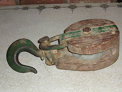 Vintage Wooden Block & Tackle Single Pulley with Large Heavy Iron Hook