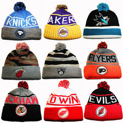 Mitchell & Ness NBA / NHL Cuffed Knit Pom Beanie Winter Hat Team Skully Cap