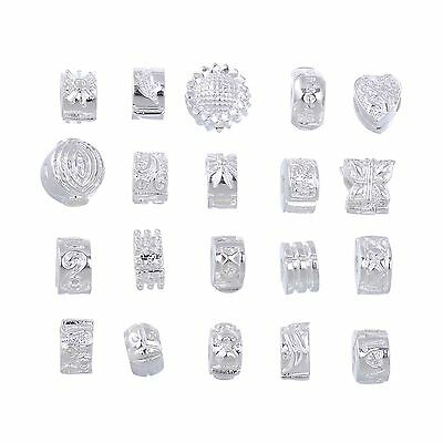 20PCS MIX LOT OF White Silver Plated Clip Lock Stopper Clasp Beads Fit European