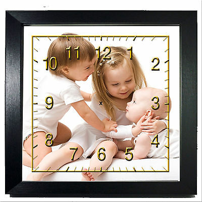 """PERSONALISED 8X8"""" SQUARE PICTURE/PHOTO WALL CLOCK - WHITE or BLACK"""