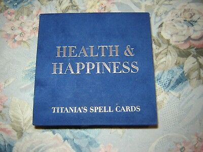 Titania's Spell Cards - Health & Happiness - 64 Cards in Silver & Blue Box EUC