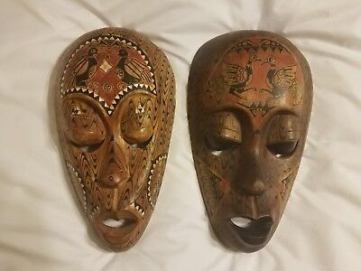 2 beautiful carved decorated authentic Ghana tribal African masks lot