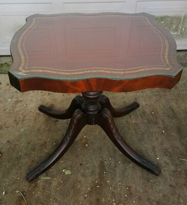 Antique 1920's Mahogany Burgandy Leather Inlaid Table W/Glass Top