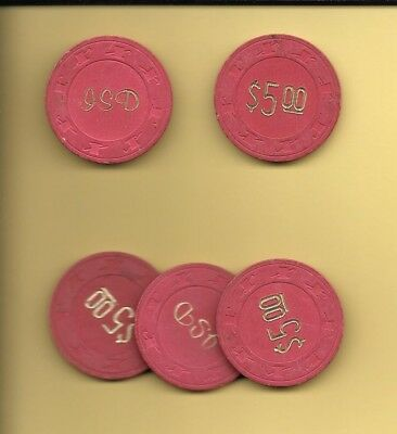 JSD $5 Top Hat and Cane Vintage Casino Poker Chips 5 (ea)