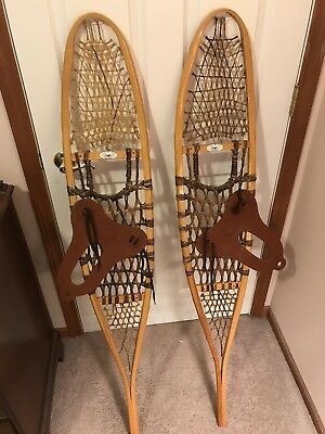 GV Wooden Traditional Alaskan Snow Shoes With Rubber Bindings.