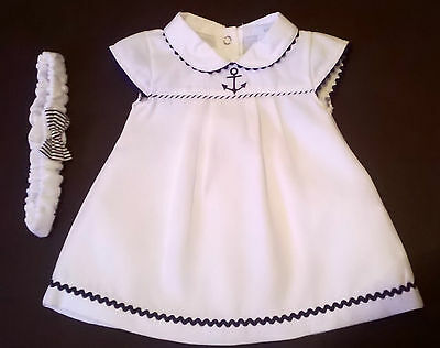 beautiful white baby sailor dress by ZIP ZAP  parties summer holidays 1m only