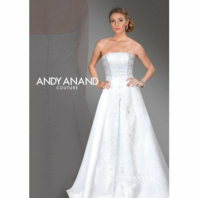 Andy Anand Couture Strapless Beaded Satin Bridal Gown
