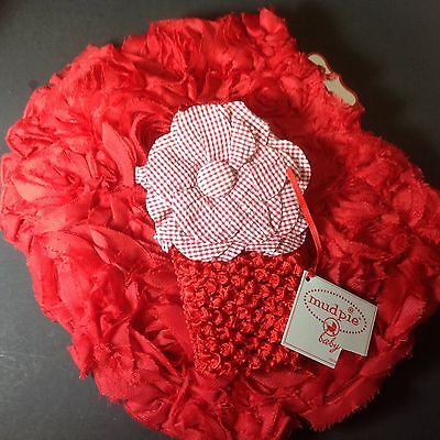 Mud Pie BLOOMERS & HAIR BOW MUD PIE Size 12-18 Month 2Pc Set RED ROSETTE 117A004