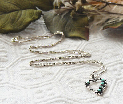 Vintage Native American Zuni Sterling Silver Turquoise Petit Point Heart Necklac