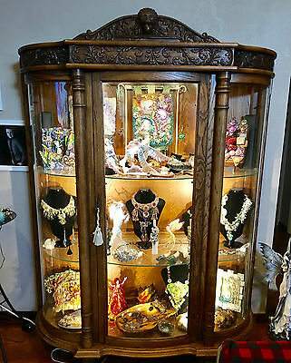 Antique Oak curved glass,Curio Display Cabinet clawed feet, lights, lock and key
