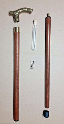 Antique / Vintage Collapsible Wood Brass Walking Cane w/ Hidden Vile Compartment