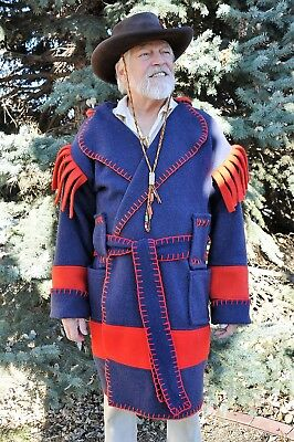 Wool Blanket Capote - Coat,  2XL, Navy Blue w/ Red, Hunting