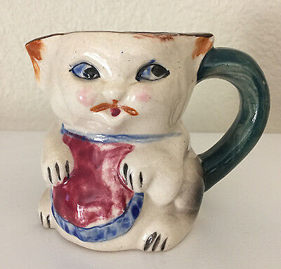 "Vintage Japan CAT KITTEN IN APRON Creamer Pitcher 3 1/2"" Tea Kitchen Decor CUTE!"