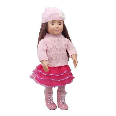 Sweater Top Hat Lace Skirt Tights suit for 18'' American Girl Doll Clothes
