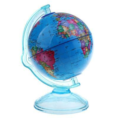 Vintage Plastic Penny Coin Piggy Bank Mini World Globe for Dimes Home Decor