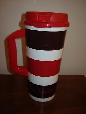 2016 Whirley Tim Hortons 20 oz Plastic Travel Mug White with Red & Brown Stripes
