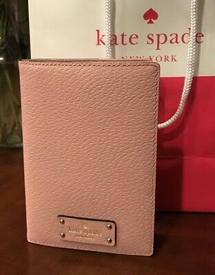 Kate Spade NY Imogene Grove Leather Pink Bonnet Passport Holder Wallet Case