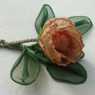 Antique French Ribbon Work Petaled Organdy Rose