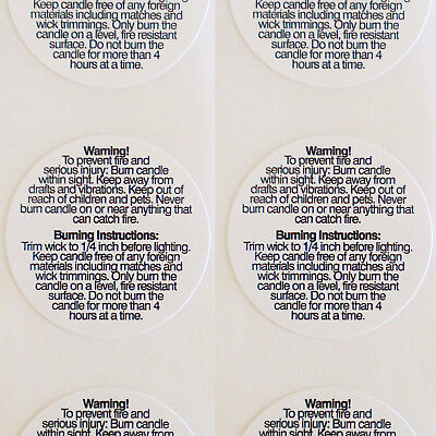 Candle Making Warning Labels  3cm - Lot of 50 Stickers