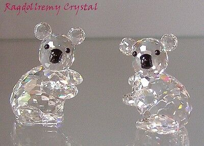 Two Swarovski Crystal Left and Right Koala Bear Figurines.  Picture perfect gift