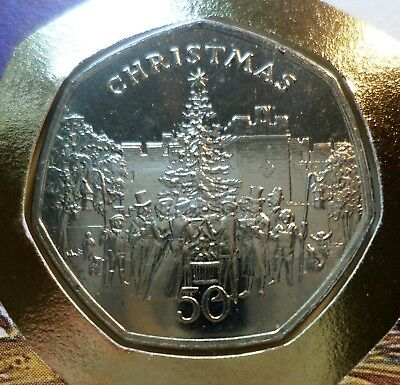 3 x Rare Isle of Man Christmas Fifty Pence Coins 1982, 1985, 1991 UNC plus stamp
