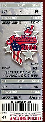 Baseball Ticket Cleveland Indians 2002 8/23 Seattle Mariners