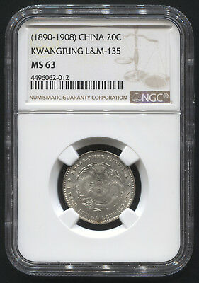 (1890-1908) 20C China Kwangtung L&M-135  NGC MS 63
