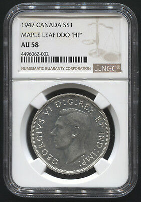 "1947 Silver $1 Canada Maple Leaf DDO ""HP""  NGC AU 58"