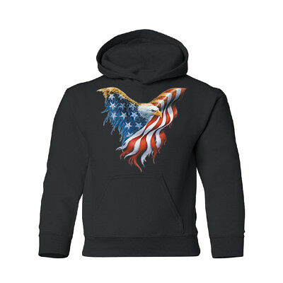 American Flag On Bald Eagle Wings YOUTH Hoodie 4th of July USA Flag Sweatshirt